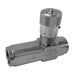 90° Flow regulator with check valve